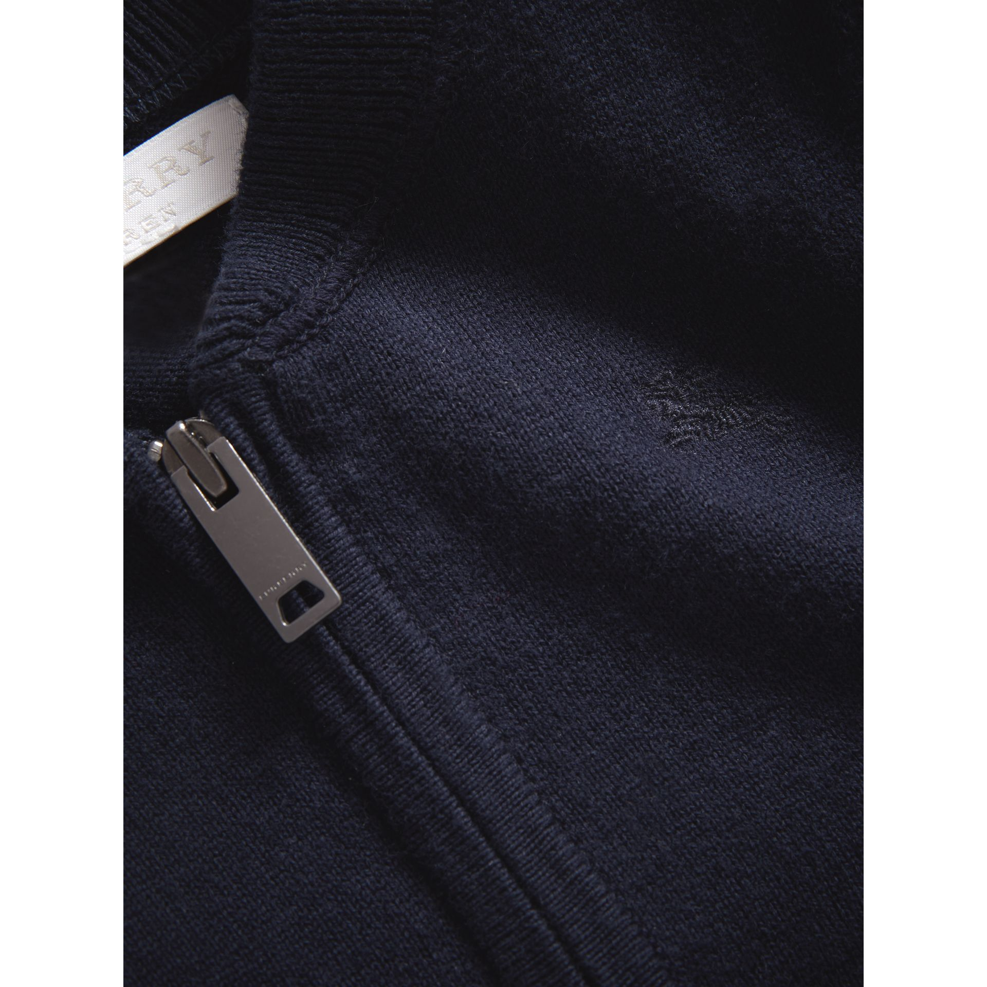 Check Detail Cotton Cardigan in Navy - Boy | Burberry Australia - gallery image 1
