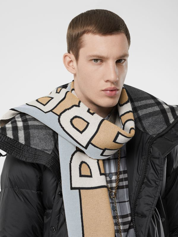 Logo Cashmere Jacquard Scarf in Pale Blue | Burberry - cell image 3