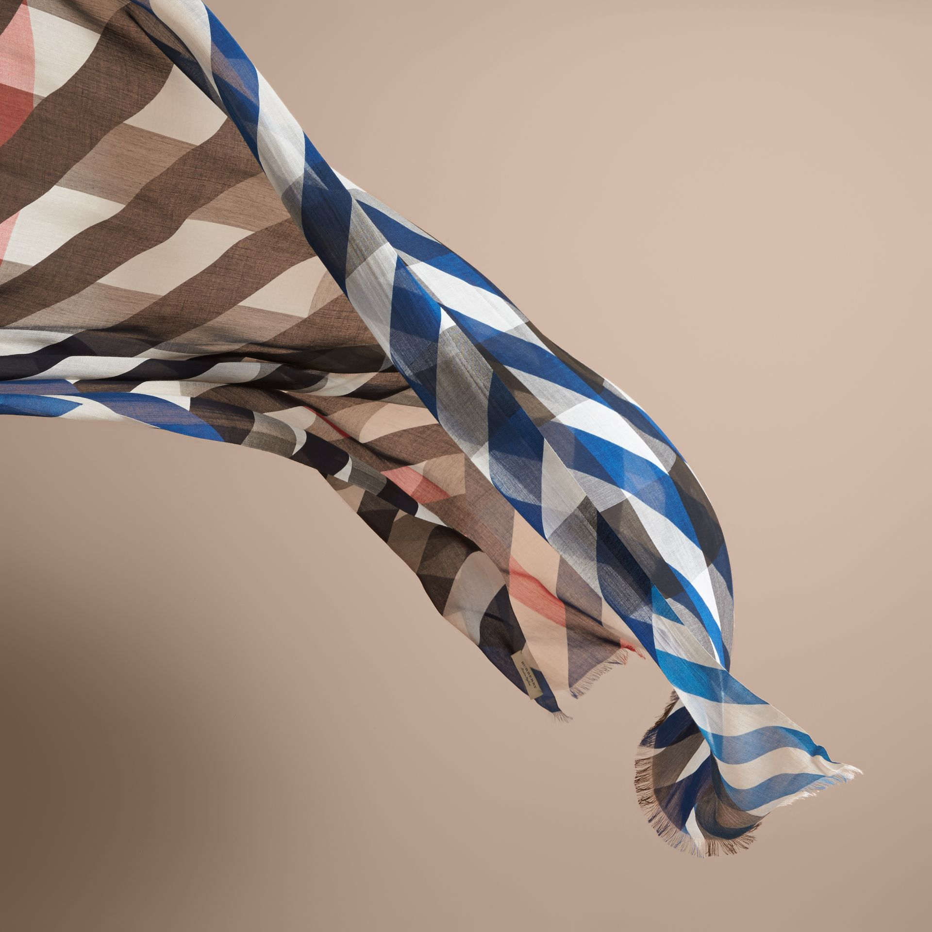 Check and Stripe Modal Cashmere Silk Scarf Indigo/stone - gallery image 4