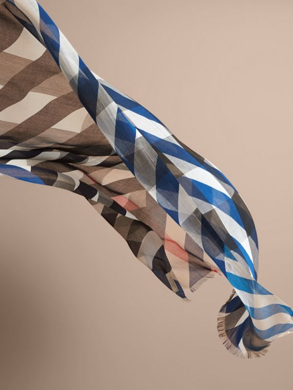 Check and Stripe Modal Cashmere Silk Scarf in Indigo/stone - Women | Burberry - cell image 3