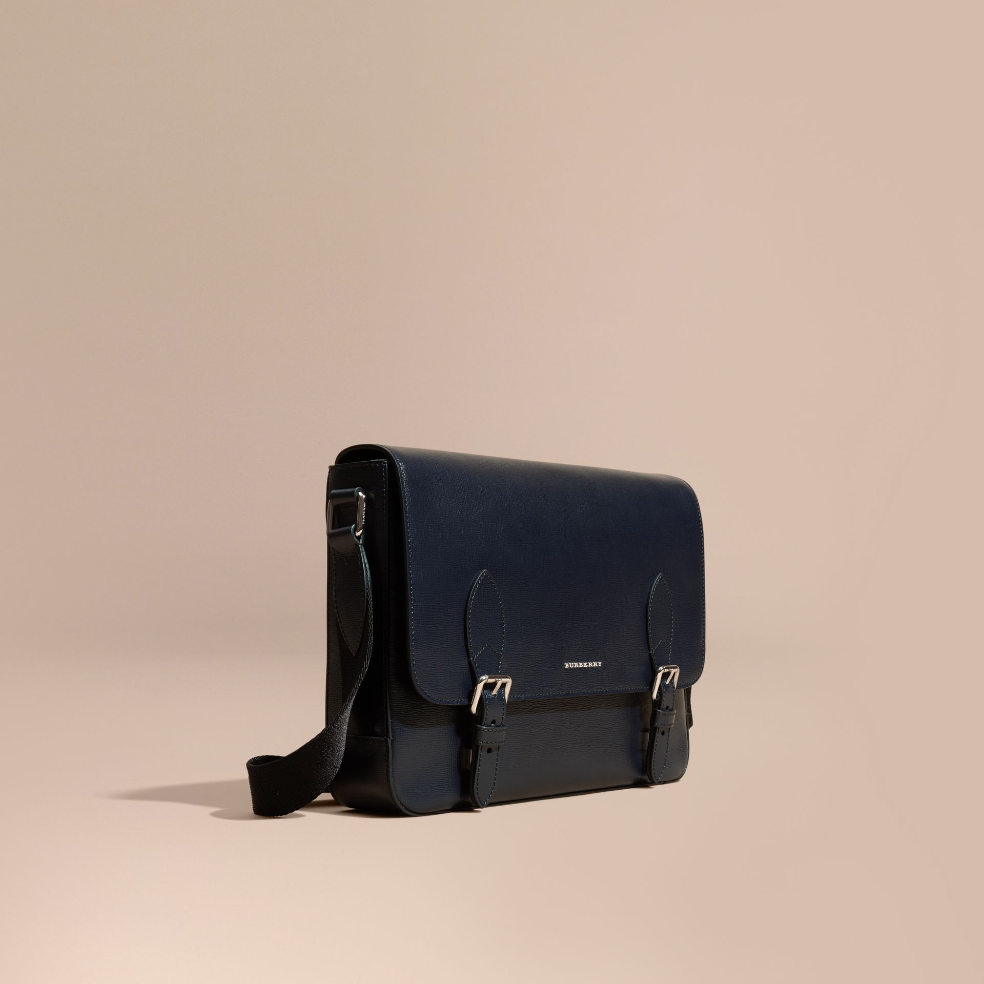 Medium London Leather Messenger Bag Dark Navy - gallery image 1