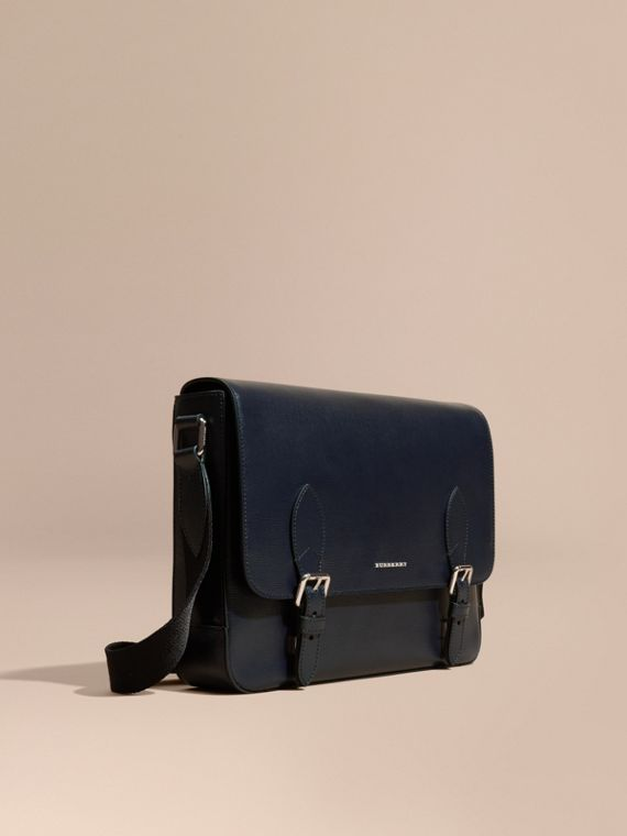 Medium London Leather Messenger Bag Dark Navy