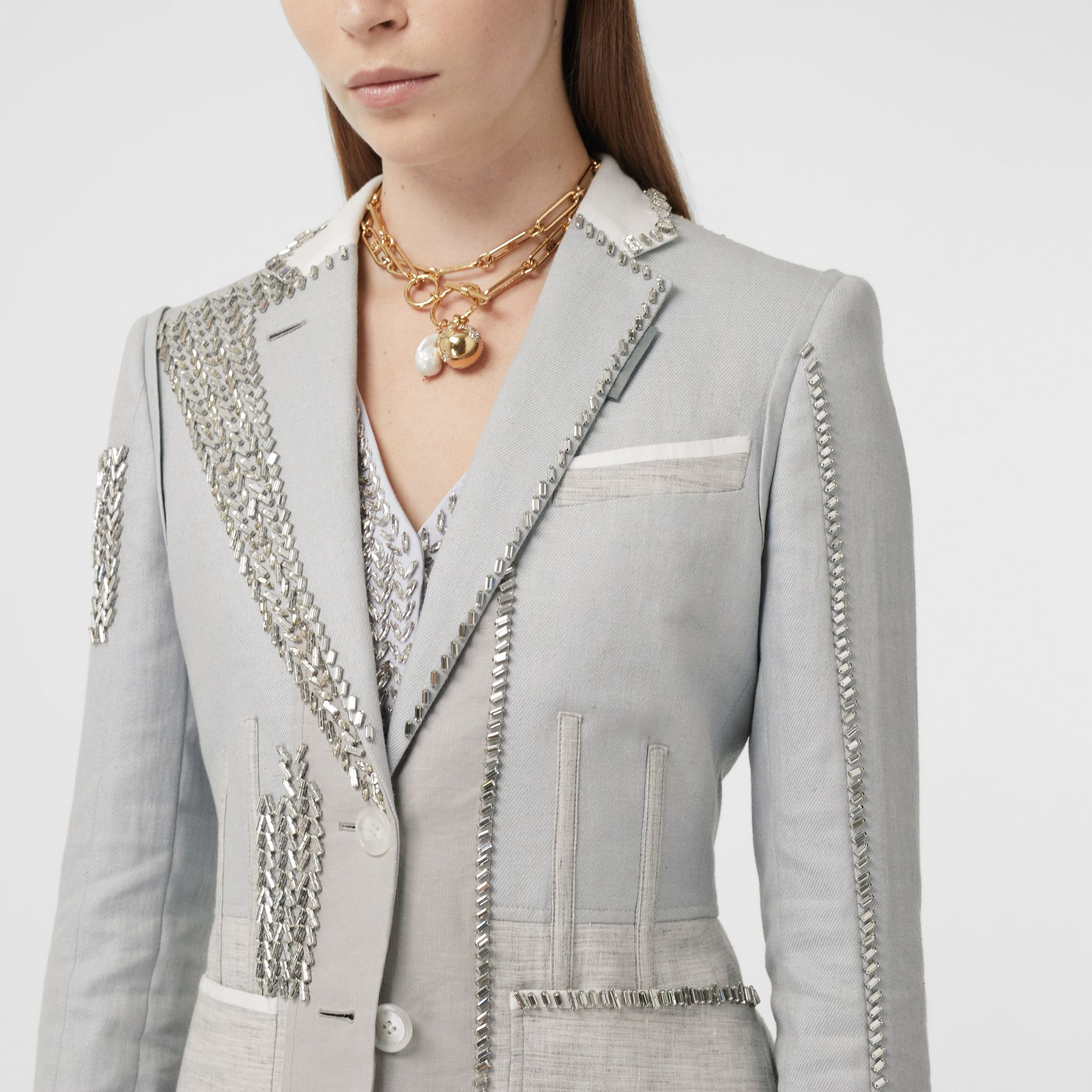 Crystal Embroidered Technical Linen Blazer in Grey Melange - Women | Burberry - gallery image 1