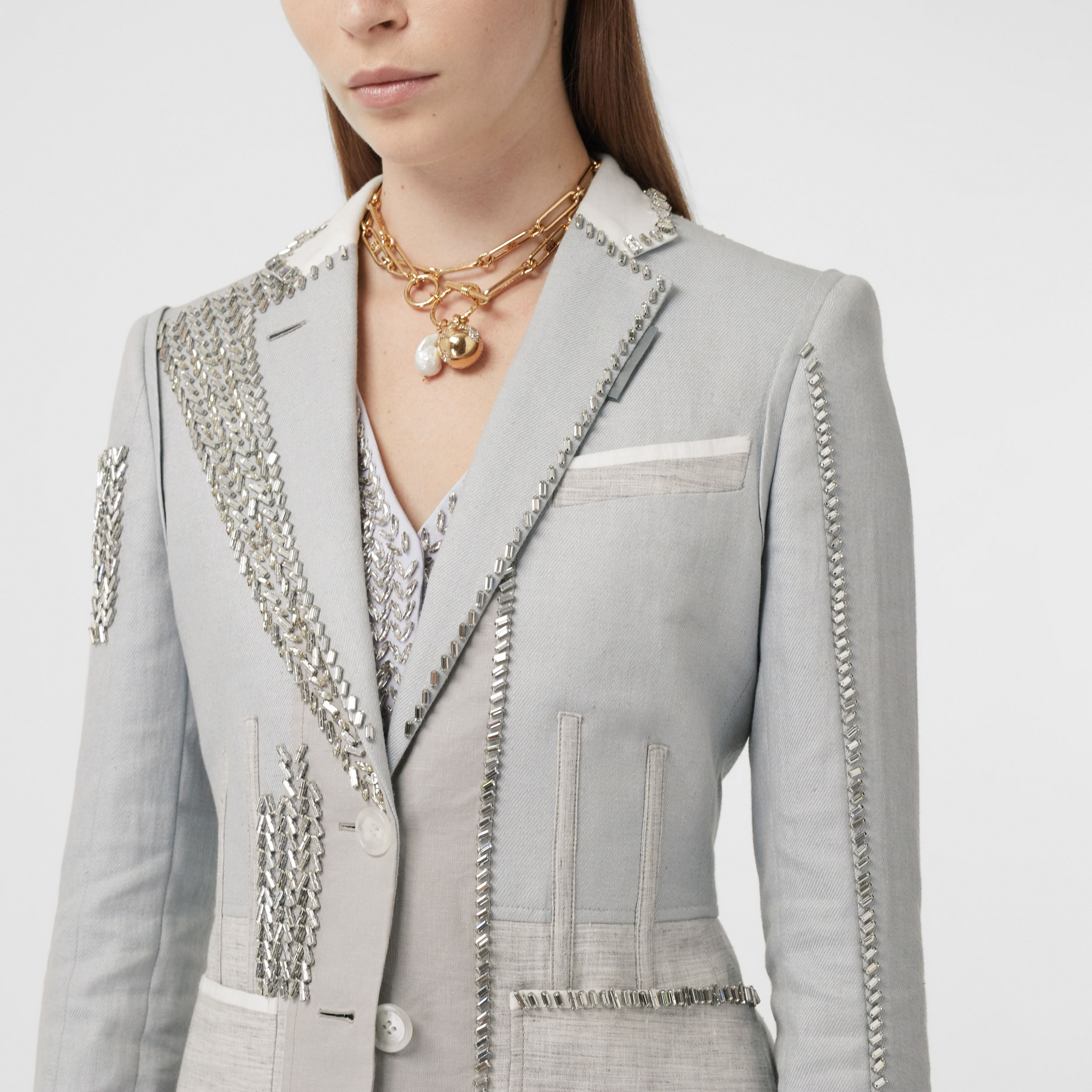 Crystal Embroidered Technical Linen Blazer in Grey Melange - Women | Burberry - 2