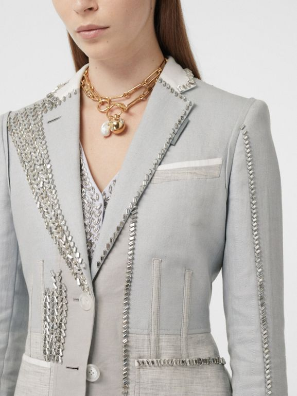 Crystal Embroidered Technical Linen Blazer in Grey Melange - Women | Burberry - cell image 1