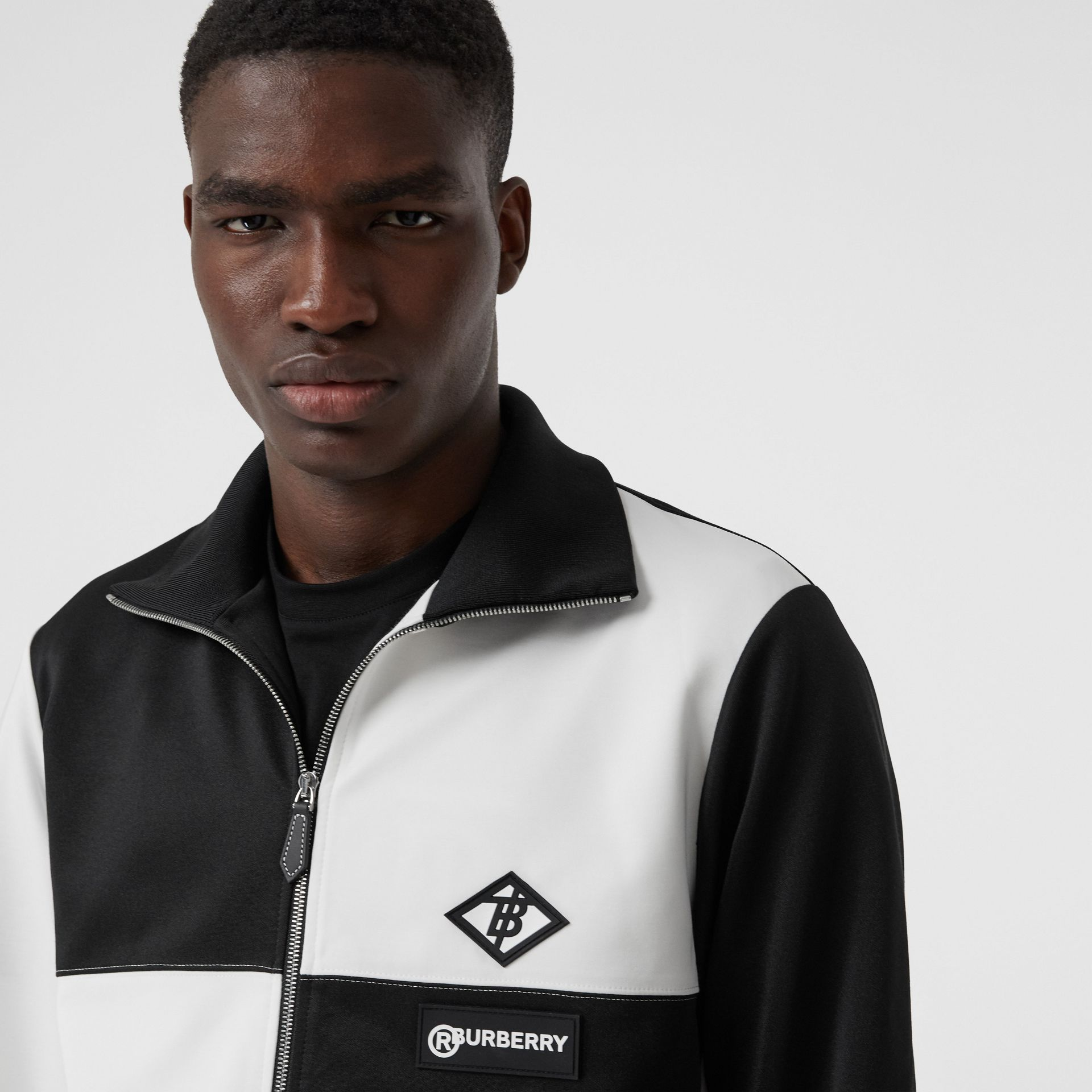 Logo Graphic Two-tone Jersey Track Top in Black - Men | Burberry - gallery image 1
