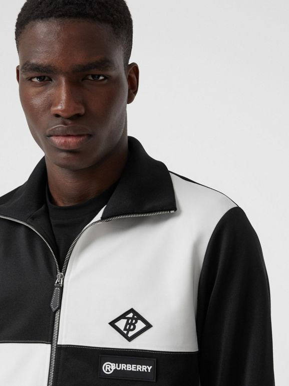 Logo Graphic Two-tone Jersey Track Top in Black - Men | Burberry - cell image 1