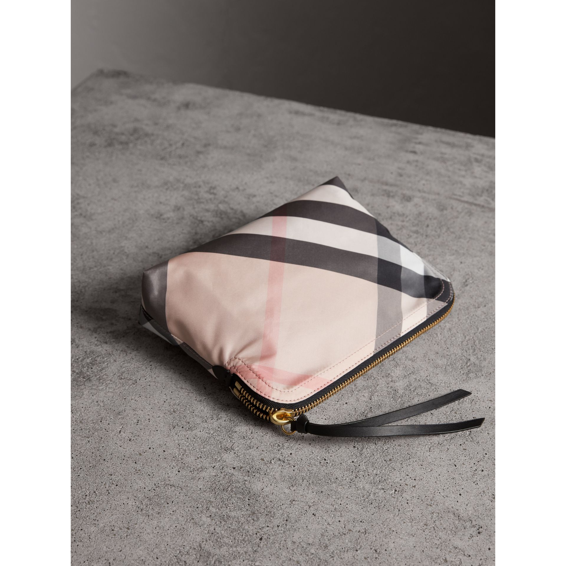 Large Zip-top Check Pouch in Ash Rose - Women | Burberry Canada - gallery image 4