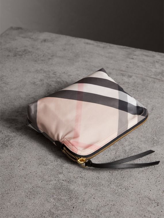 Large Zip-top Check Pouch in Ash Rose - Women | Burberry - cell image 2