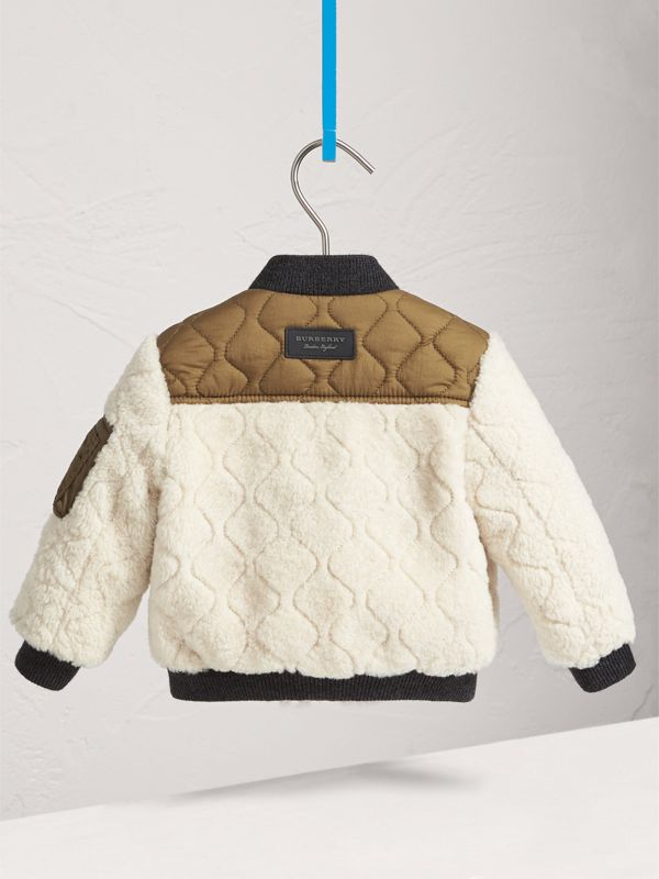 Quilted Lamb Shearling Bomber Jacket in Natural White | Burberry - cell image 3