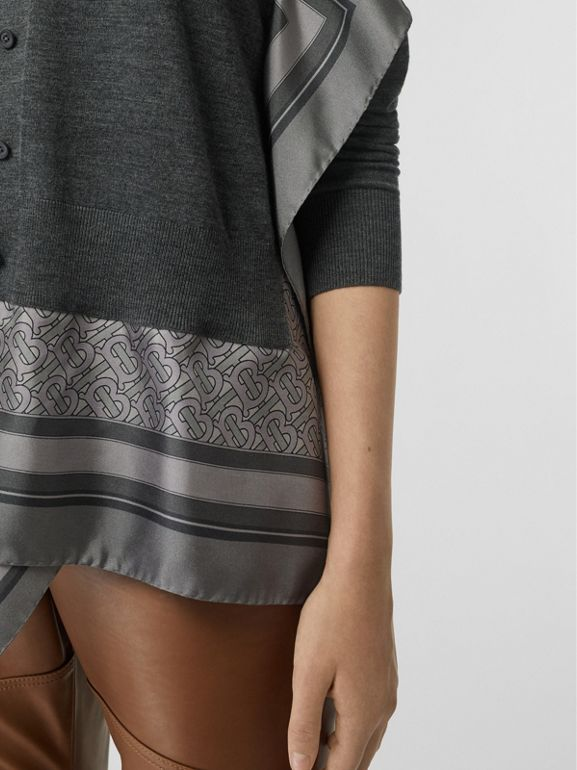 Monogram Print Scarf Detail Wool Cardigan in Grey Melange - Women | Burberry - cell image 1
