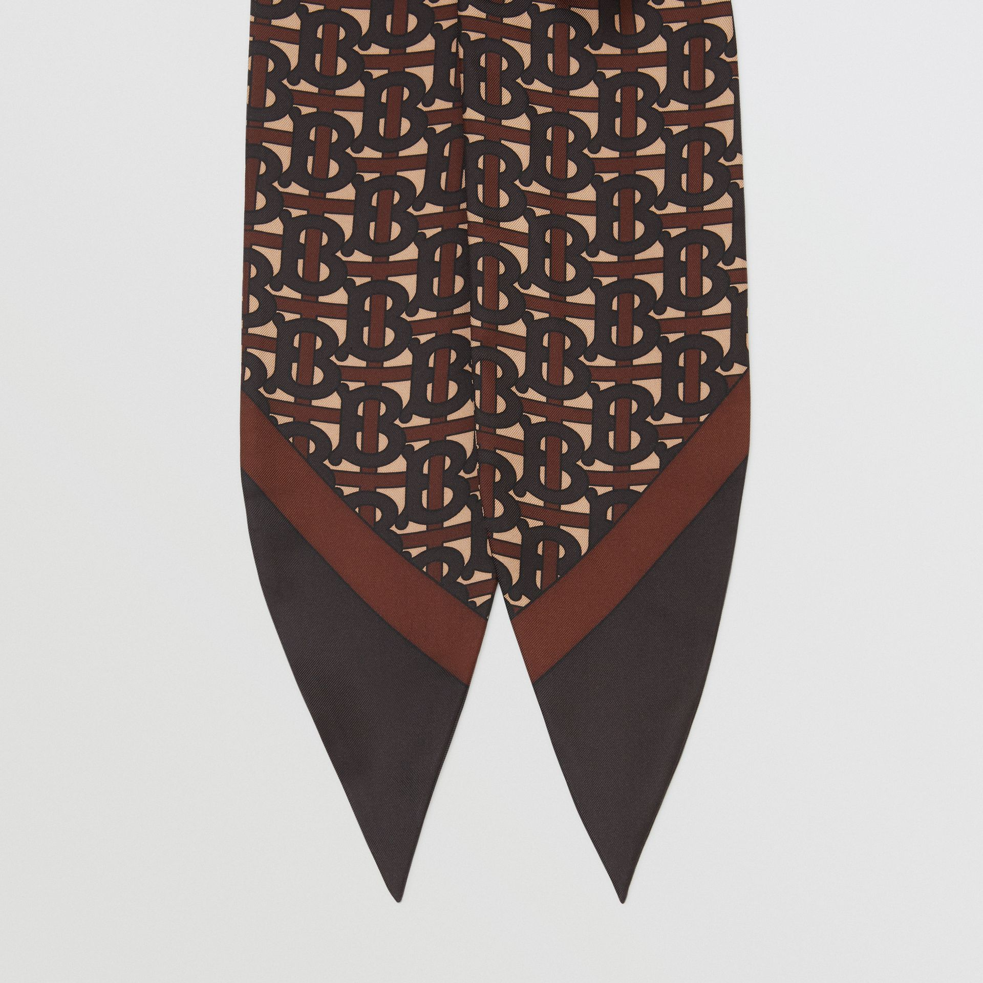 Monogram Print Silk Hair Scarf in Deep Brown - Women | Burberry - gallery image 3