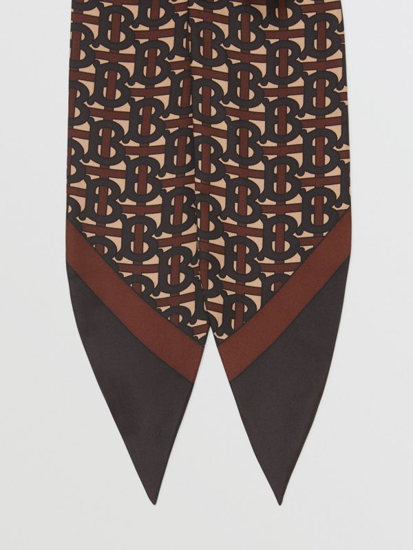 Monogram Print Silk Hair Scarf in Deep Brown - Women | Burberry - cell image 3