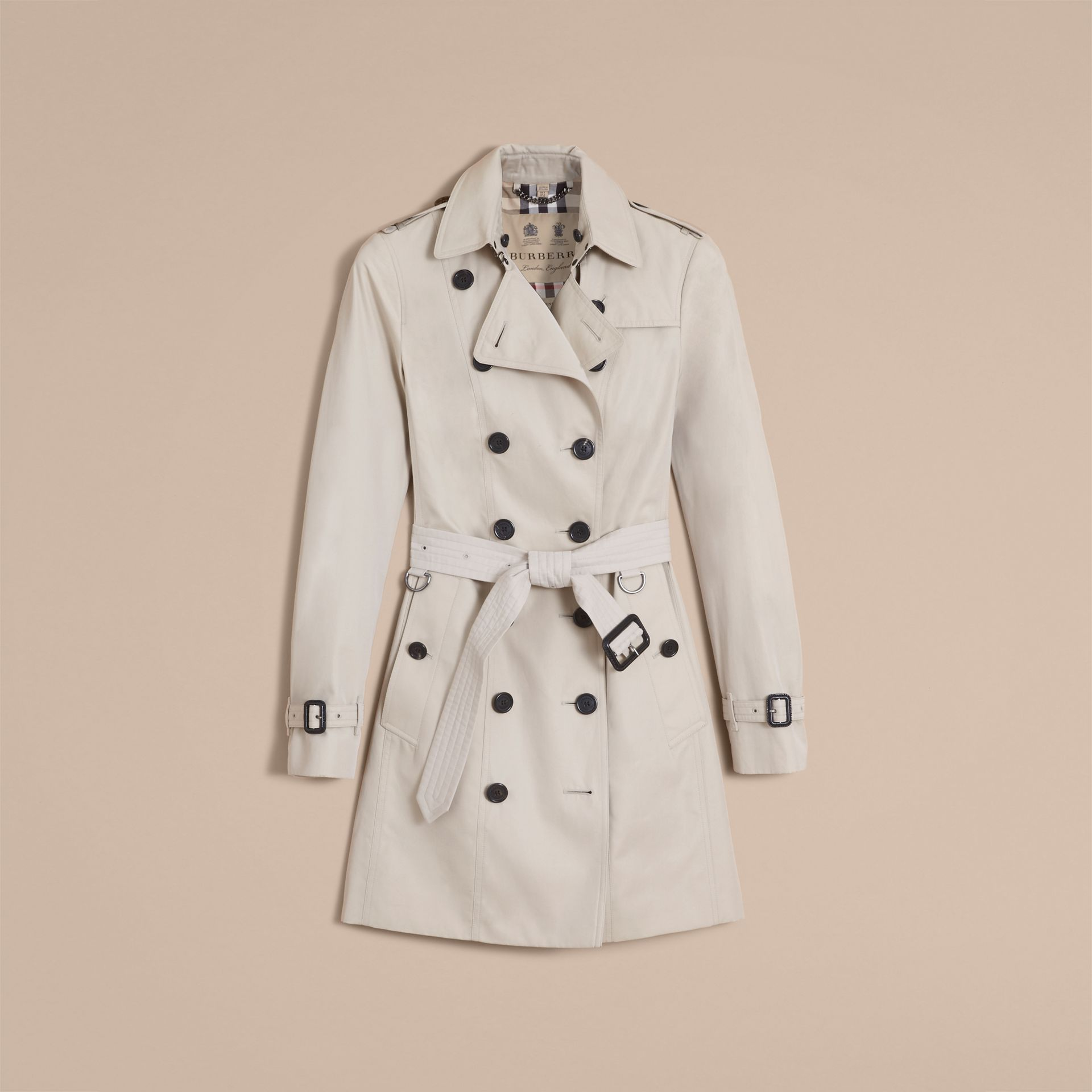 The Sandringham – Mid-Length Heritage Trench Coat in Stone - gallery image 4