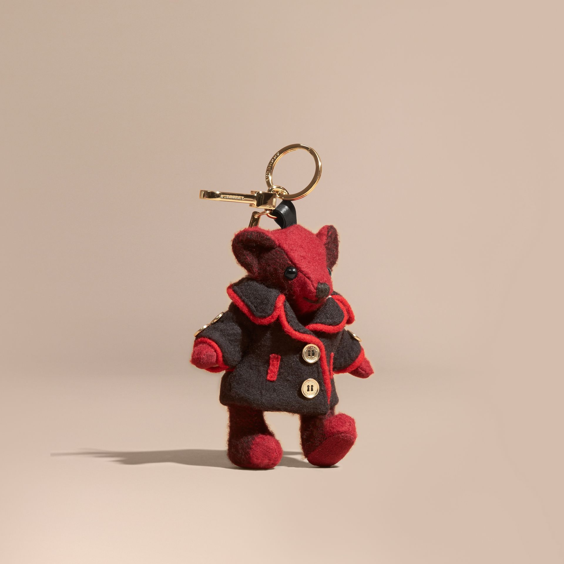 Parade red Thomas Bear Charm in Wool Cashmere Military Coat - gallery image 1