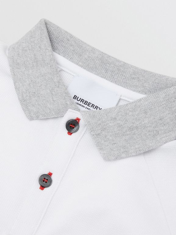 Long-sleeve Logo Print Cotton Polo Shirt in White - Children | Burberry - cell image 1