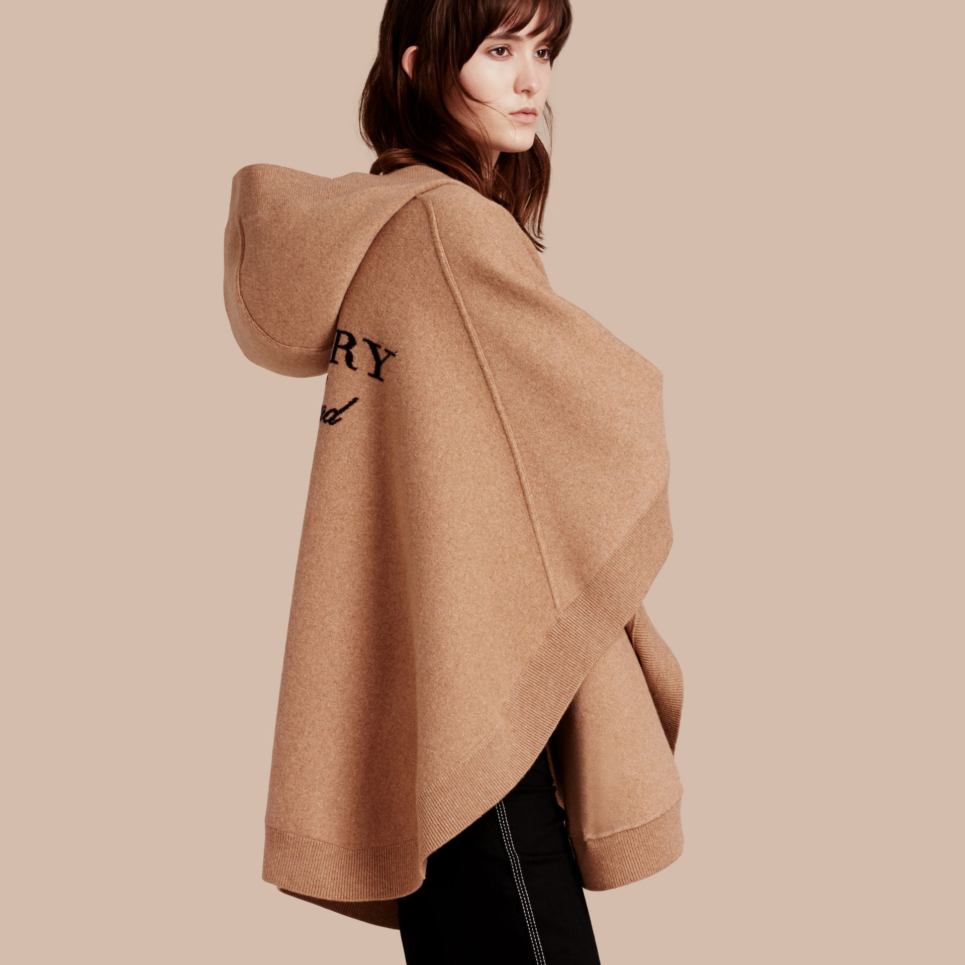 Wool Cashmere Blend Hooded Poncho Camel - gallery image 1