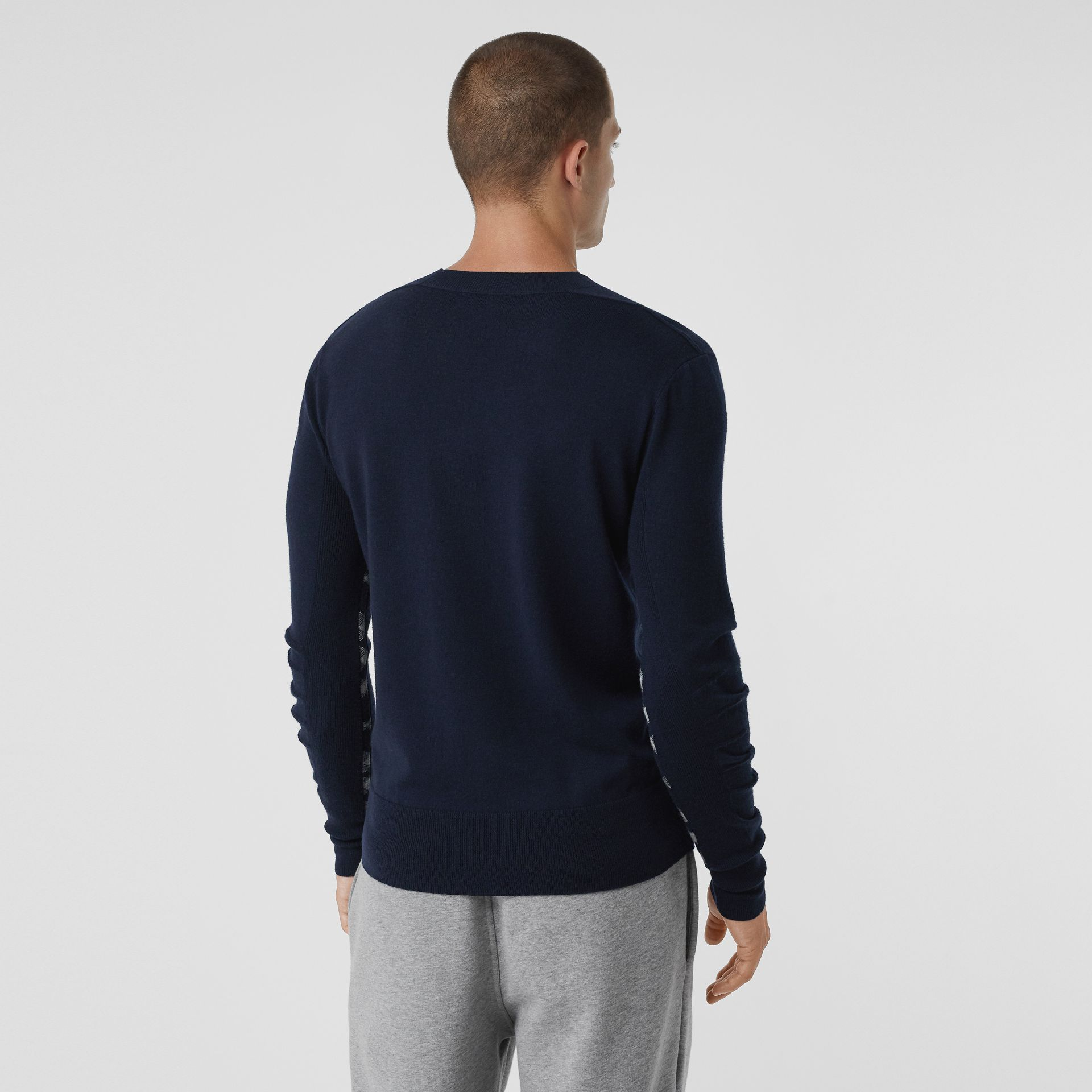 Check Detail Merino Wool Sweater in Navy - Men | Burberry Canada - gallery image 2