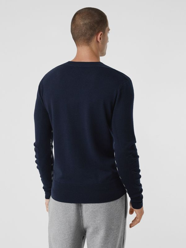 Check Detail Merino Wool Sweater in Navy - Men | Burberry - cell image 2