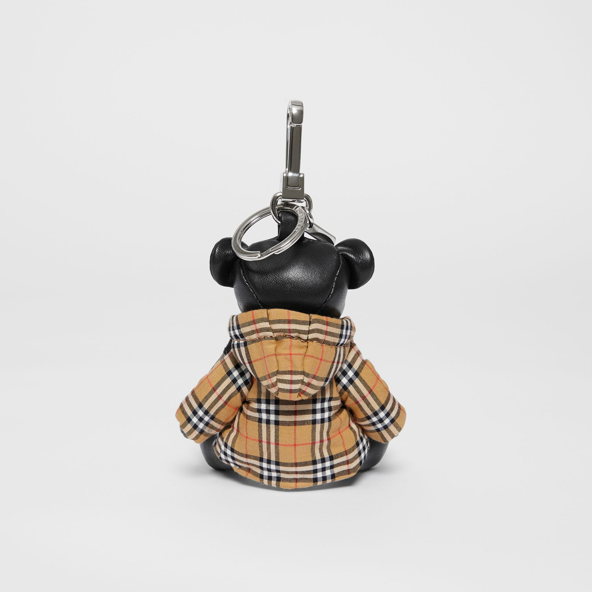 Thomas Bear Charm in Vintage Check Hooded Top in Black/antique Yellow - Women | Burberry Australia - gallery image 3