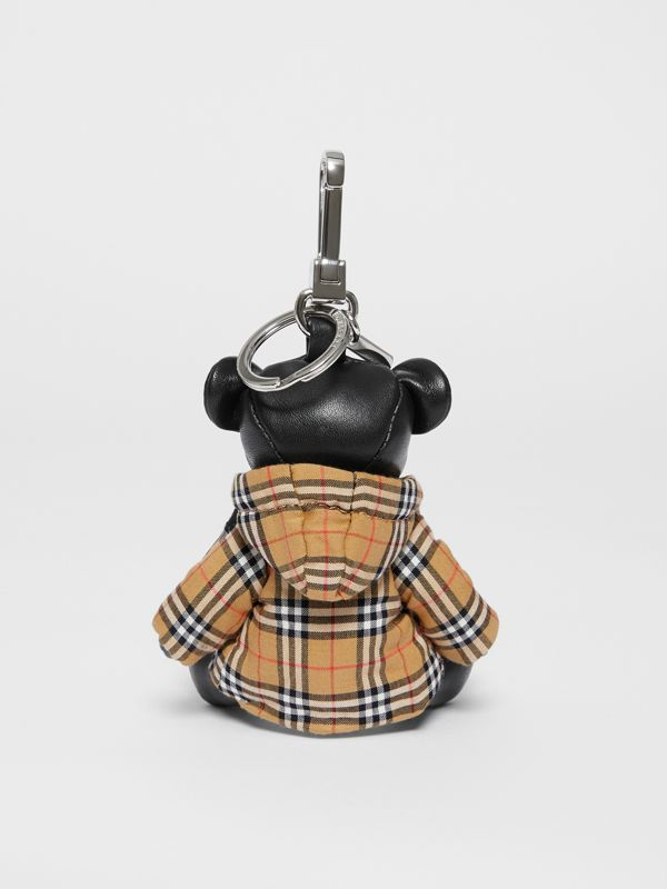 Thomas Bear Charm in Vintage Check Hooded Top in Black/antique Yellow - Women | Burberry Australia - cell image 3