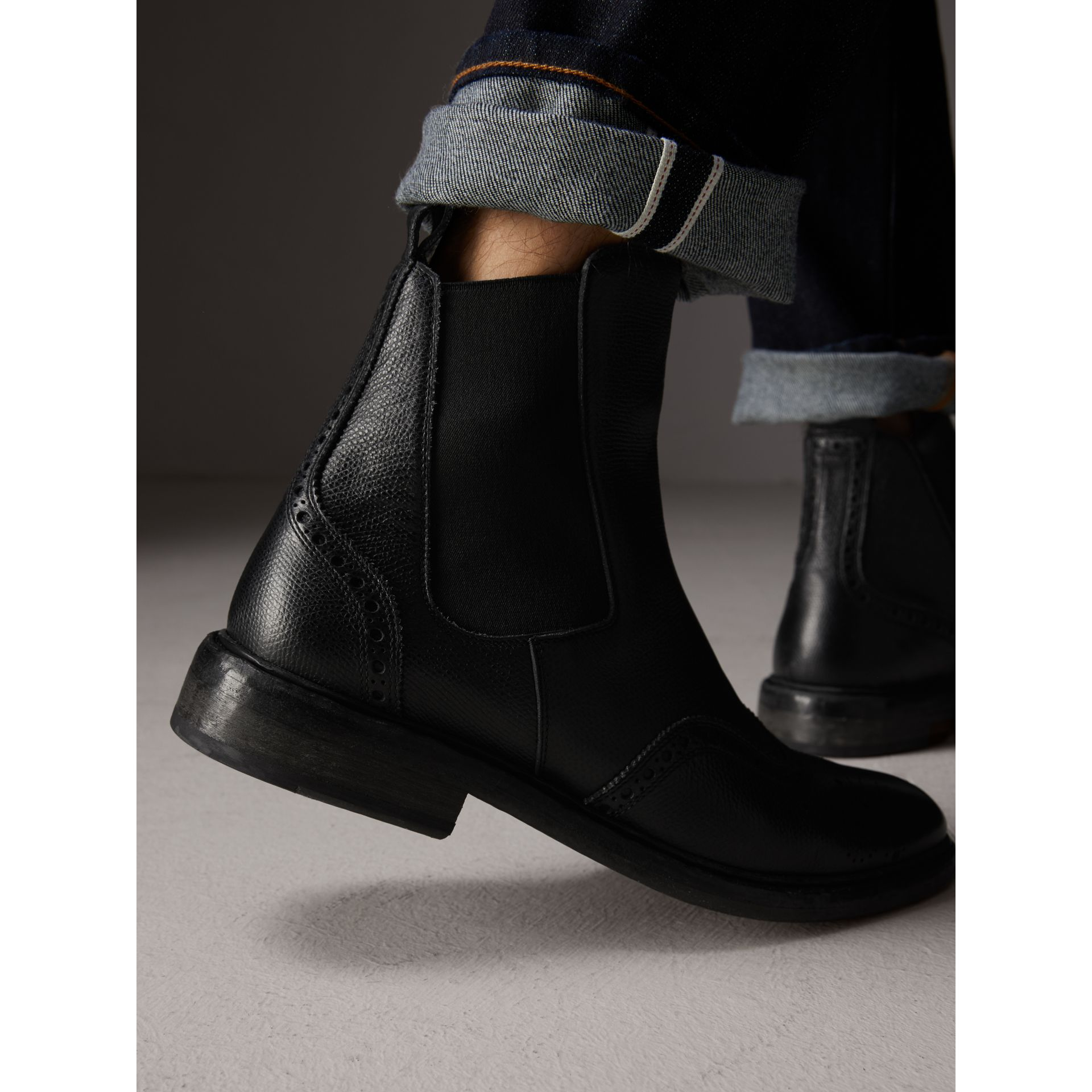 Brogue Detail Polished Leather Chelsea Boots in Black - Men | Burberry Australia - gallery image 2