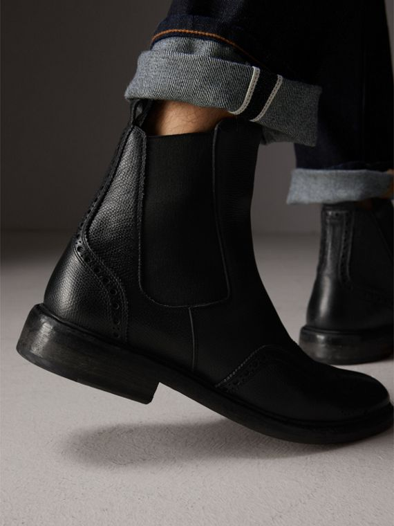 Brogue Detail Polished Leather Chelsea Boots in Black - Men | Burberry Australia - cell image 2