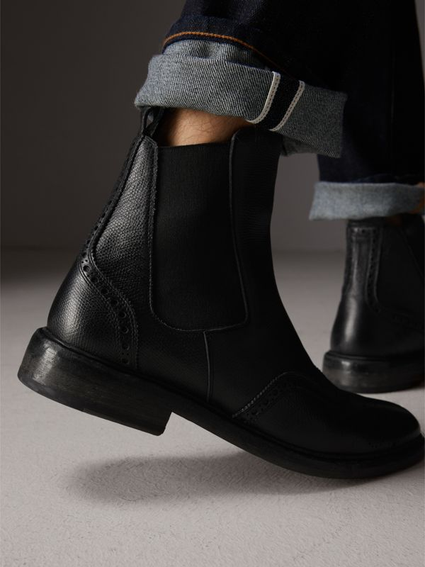 Brogue Detail Polished Leather Chelsea Boots in Black - Men | Burberry - cell image 2