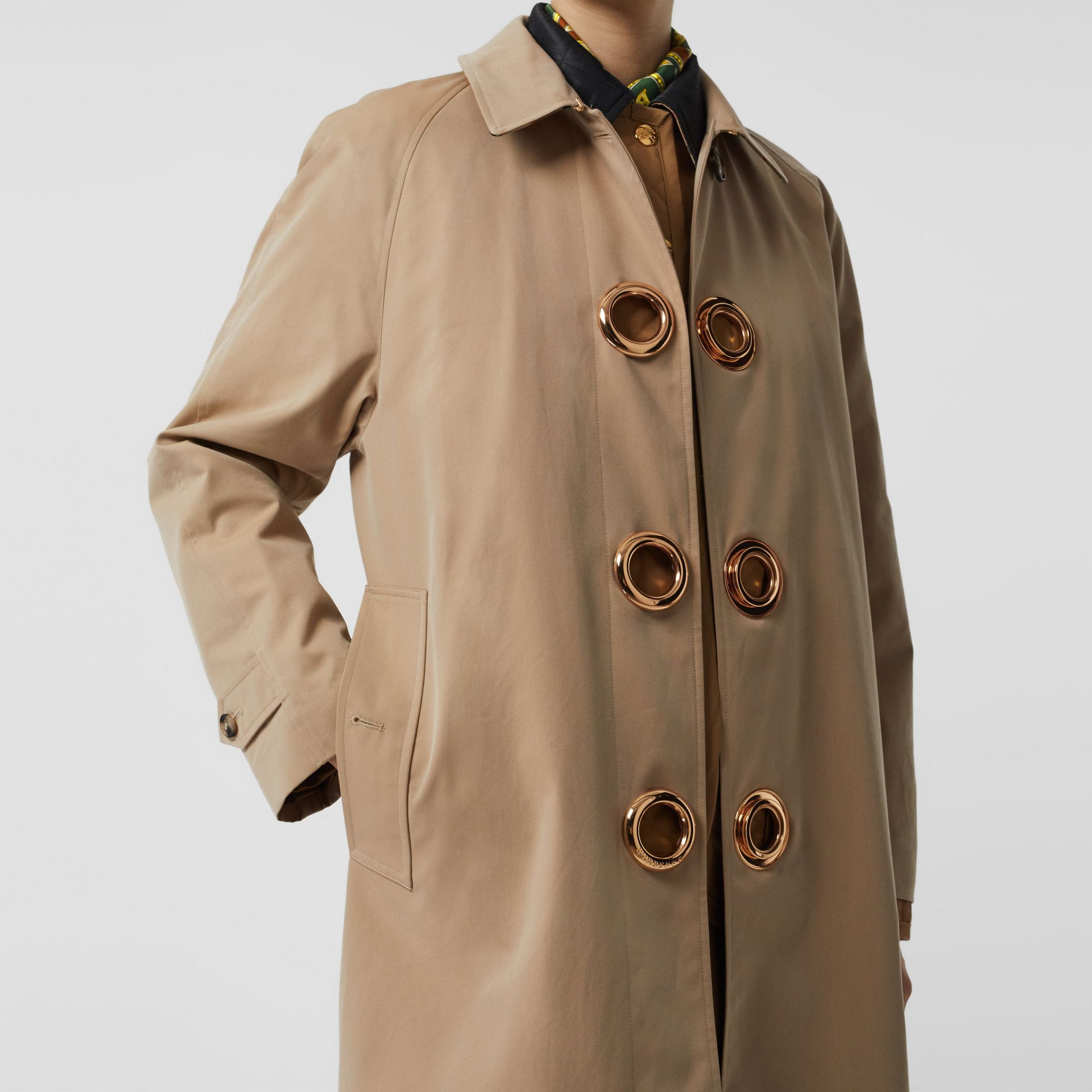 Grommet Detail Cotton Gabardine Car Coat in Honey - Women | Burberry - gallery image 5
