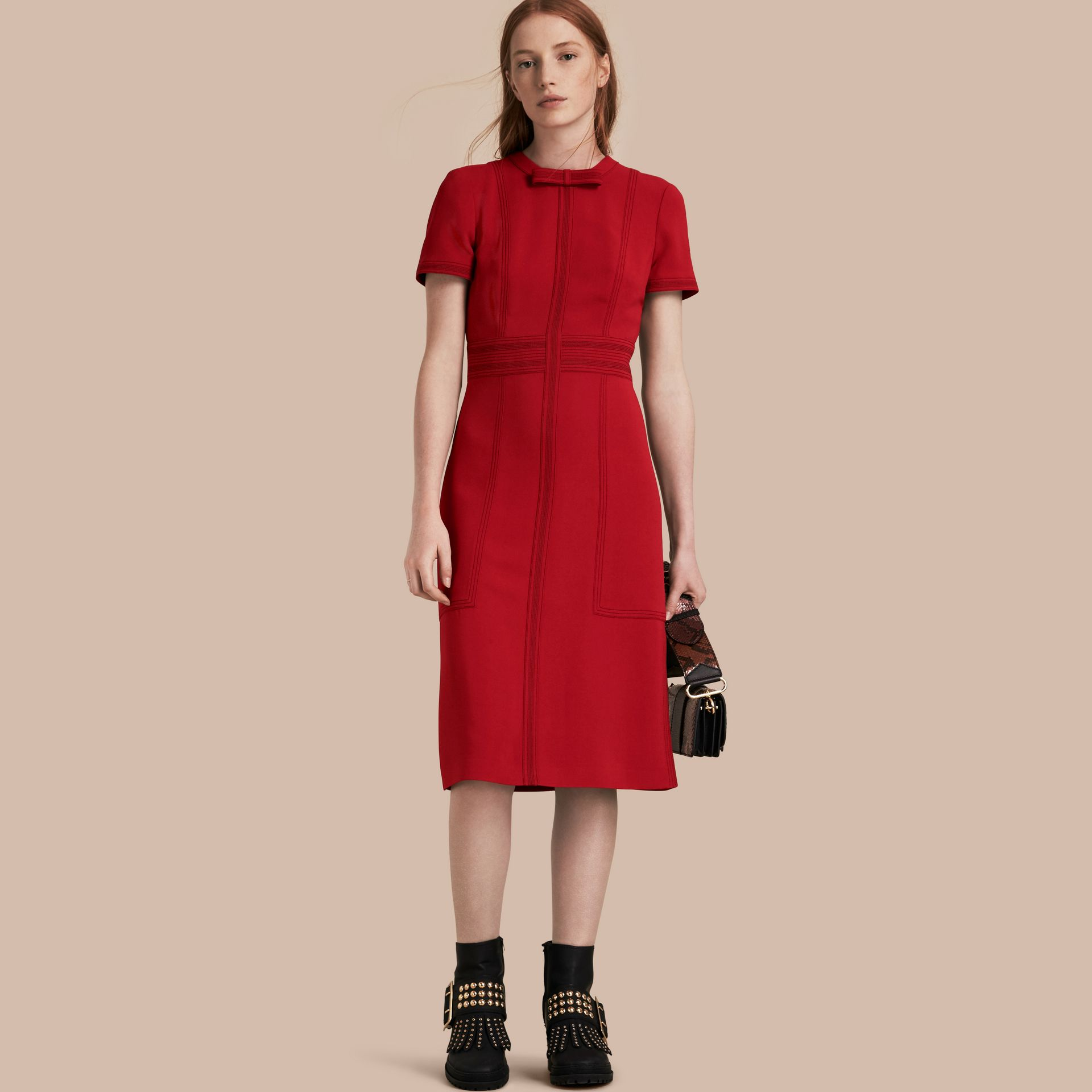 Parade red Short-sleeved Topstitch Detail Shift Dress - gallery image 1