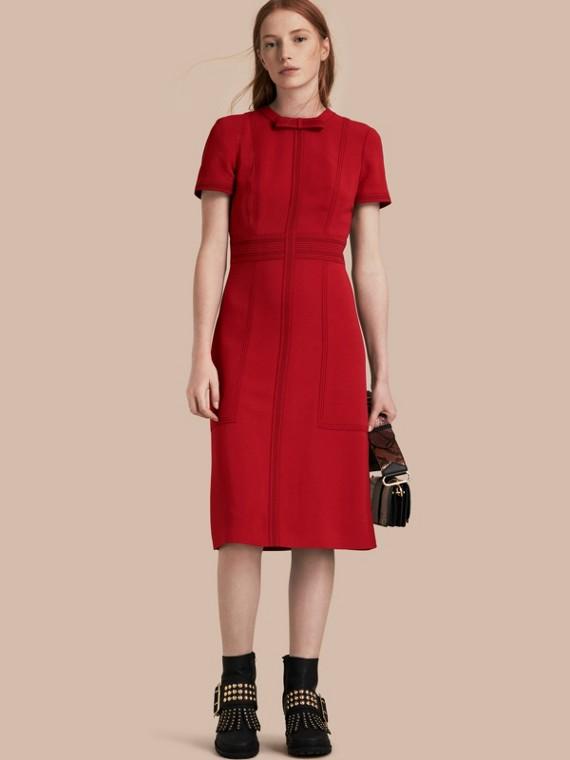 Short-sleeved Topstitch Detail Shift Dress