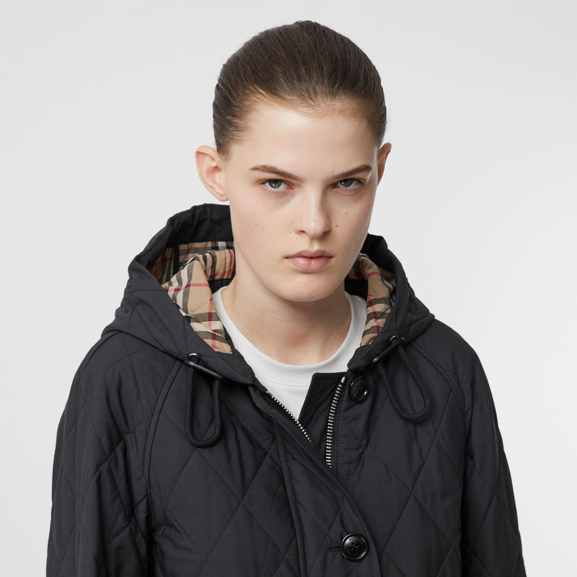 Diamond Quilted Cotton Blend Hooded Coat in Black - Women | Burberry - gallery image 1