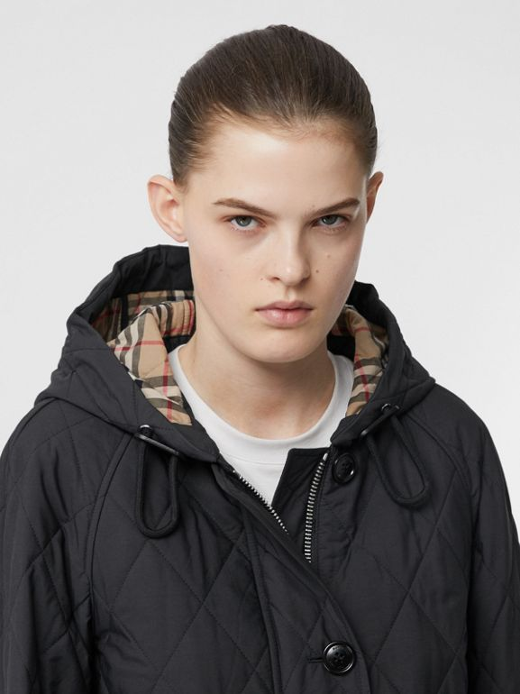 Diamond Quilted Cotton Blend Hooded Coat in Black - Women | Burberry - cell image 1