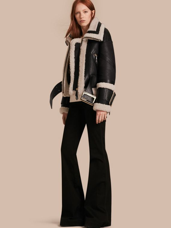 Shearling Aviator Jacket with Oversize Buckles