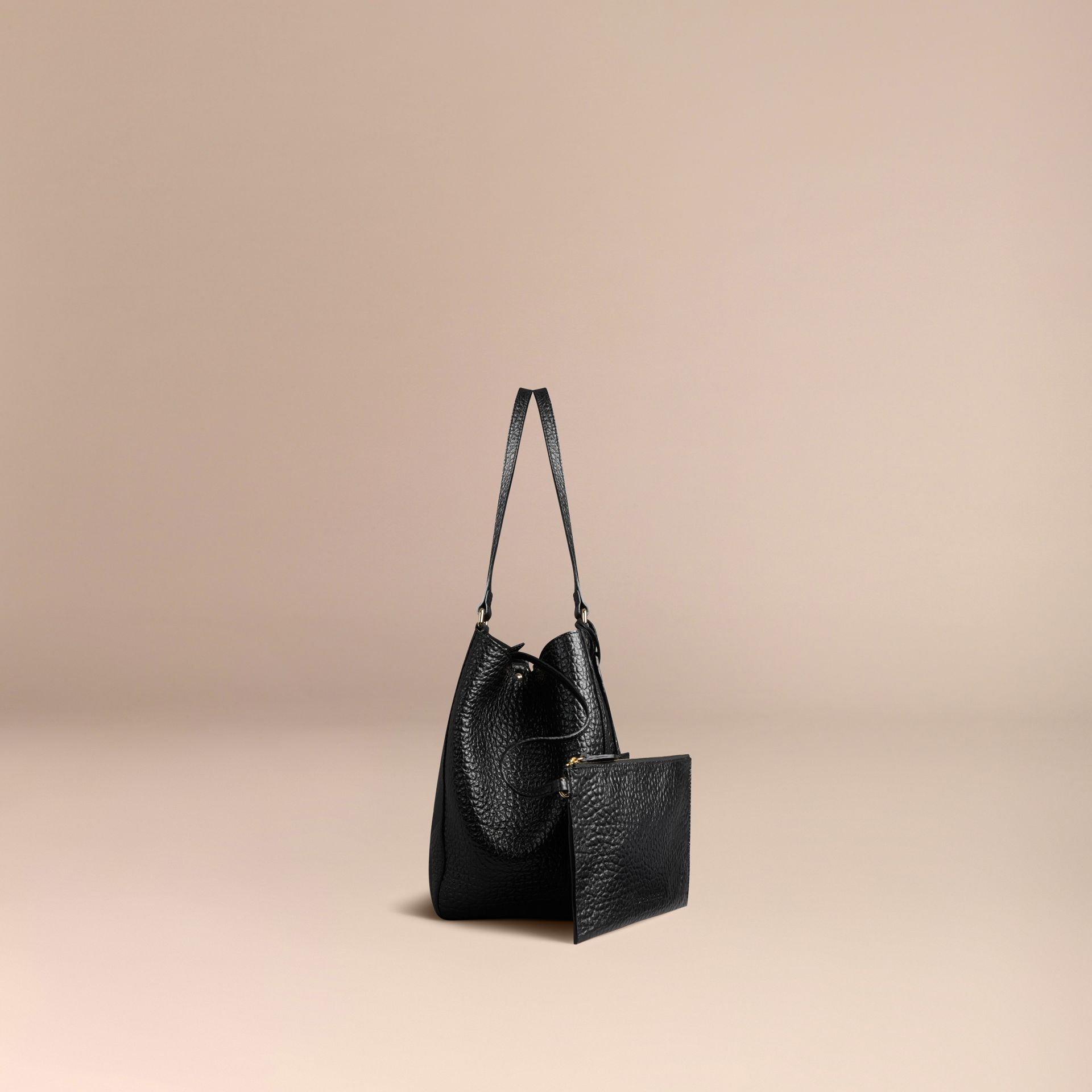 Black The Small Canter in Embossed Check Leather Black - gallery image 6