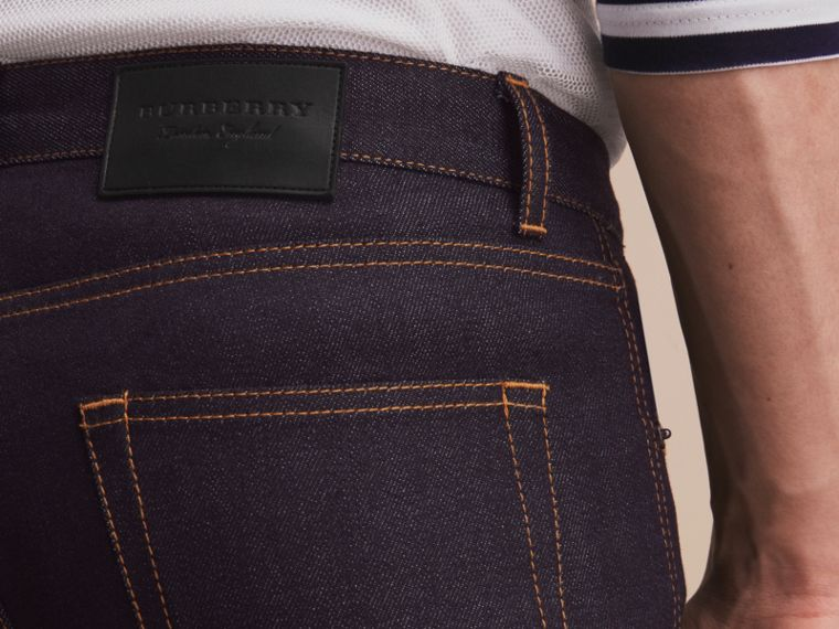 Slim Fit Raw Indigo Denim Jeans - Men | Burberry - cell image 4