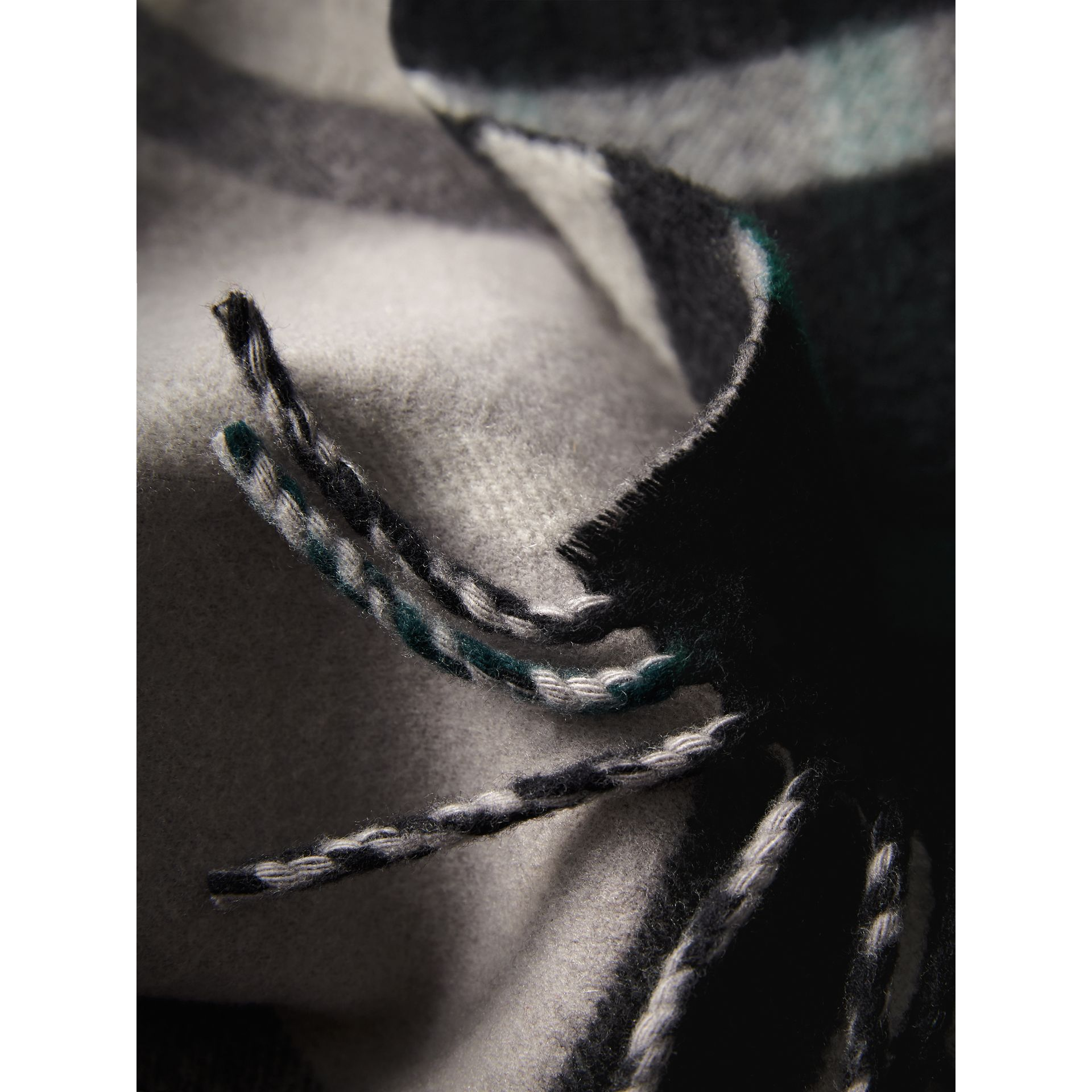 Check Wool Cashmere Oversize Scarf in Black | Burberry - gallery image 2
