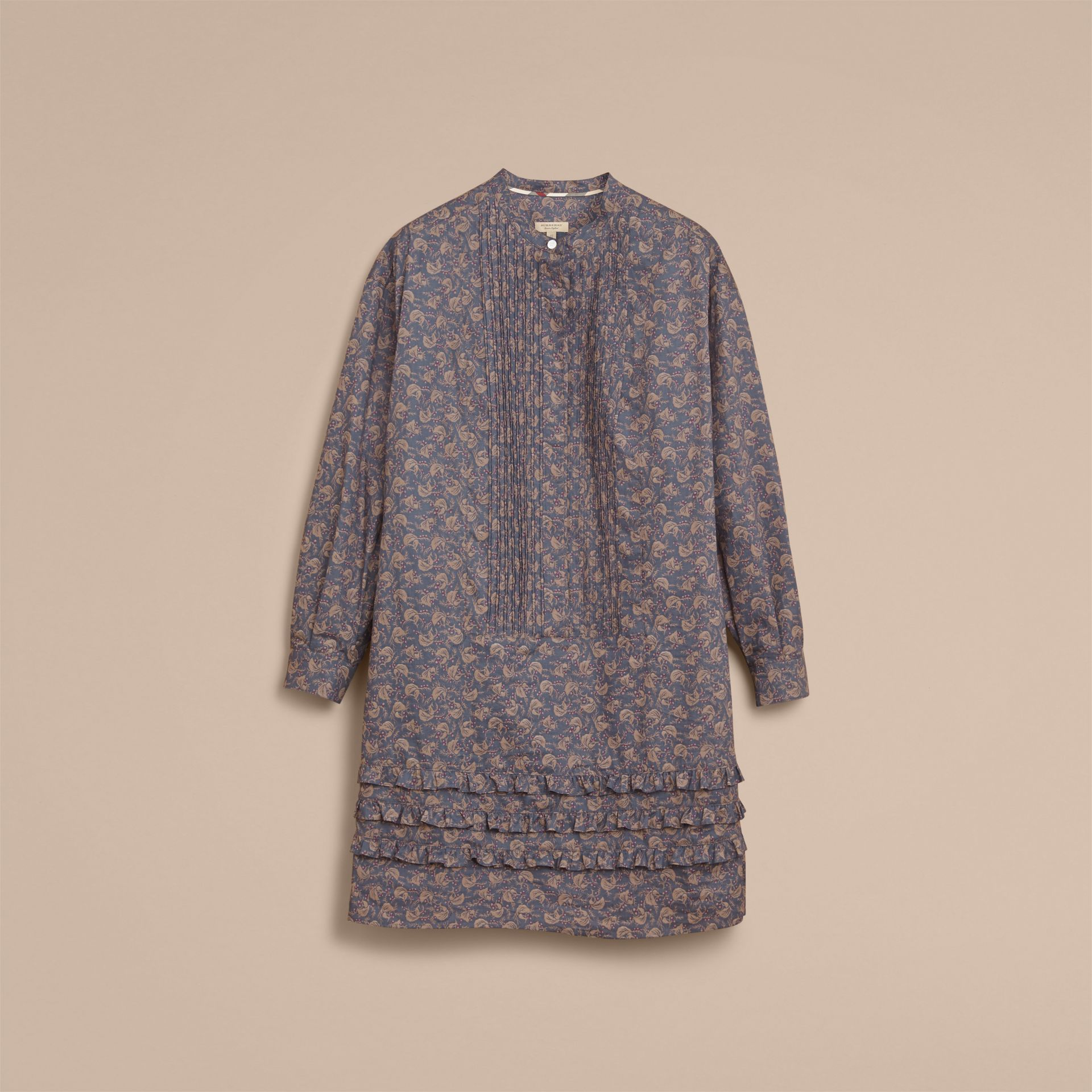 Pintuck Bib Leaf Print Cotton Shirt Dress in Steel Blue - Women | Burberry - gallery image 3