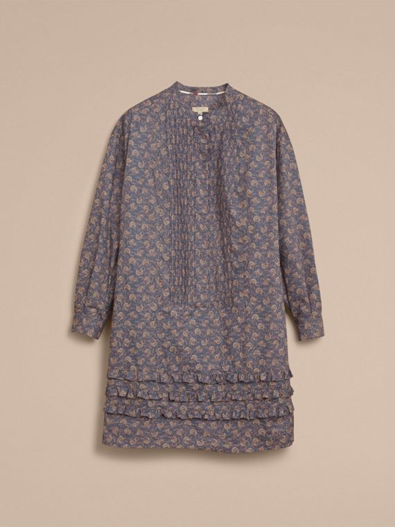 Pintuck Bib Leaf Print Cotton Shirt Dress in Steel Blue - Women | Burberry - cell image 2