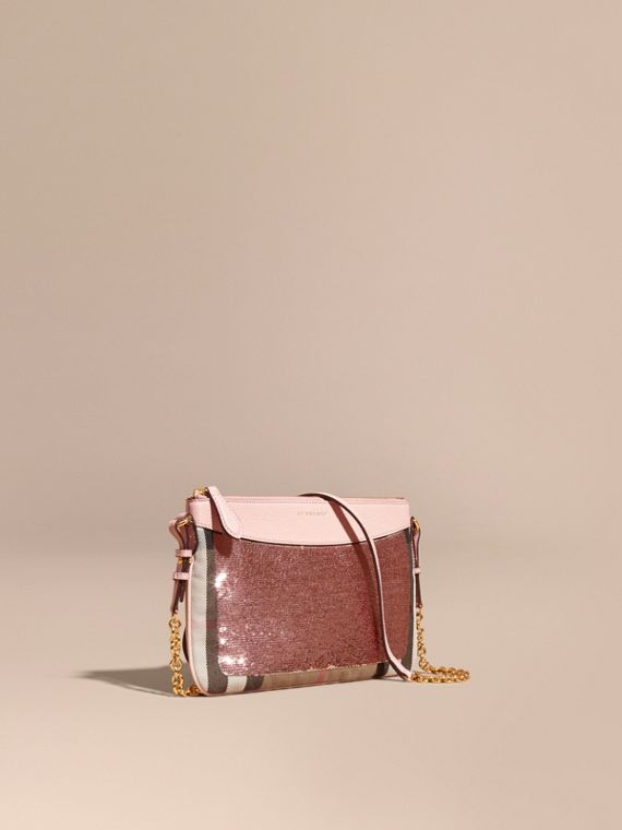 Leather, Sequin and Check Clutch Bag Light Pink/ Black