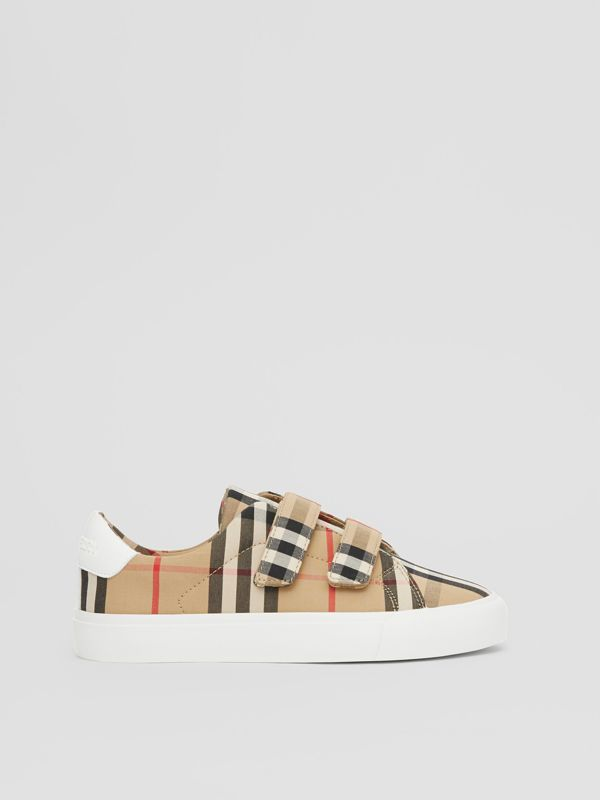 Vintage Check Cotton Sneakers in Archive Beige - Children | Burberry Singapore - cell image 3