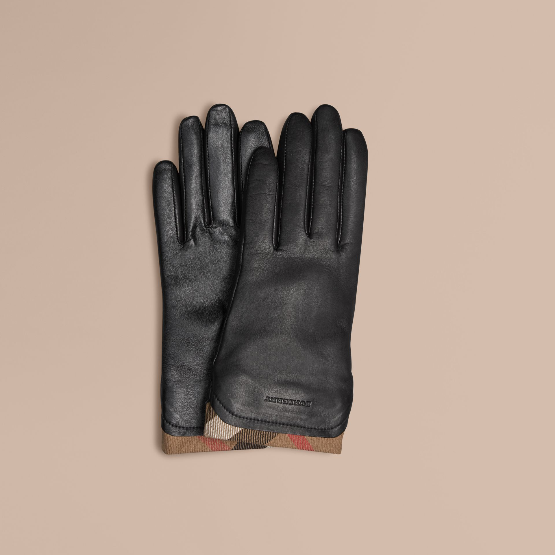 Check Trim Leather Touch Screen Gloves in Black - gallery image 1