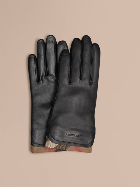 Check Trim Leather Gloves Black