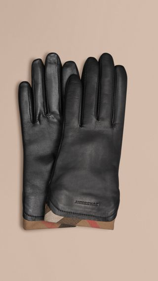 Check Trim Leather Gloves