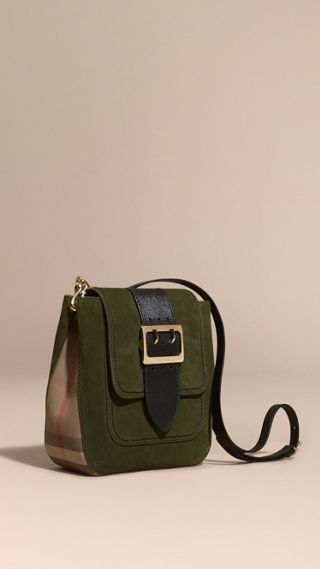 The Medium Buckle Bag – Square in English Suede and House Check