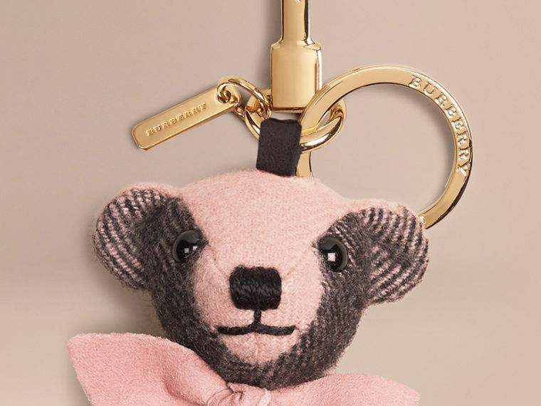 Thomas Bear Charm in Check Cashmere in Ash Rose | Burberry - cell image 1