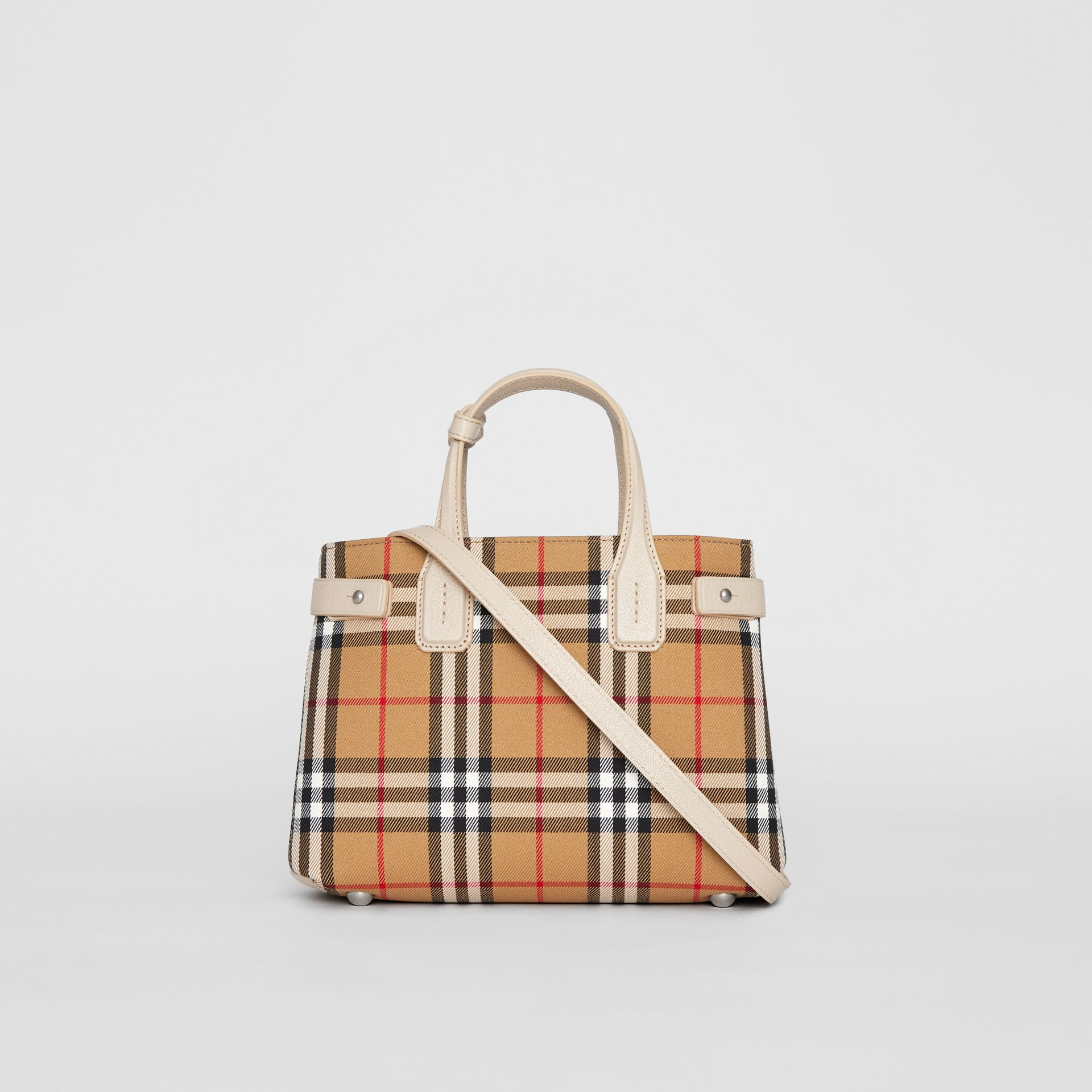 The Small Banner in Vintage Check and Leather in Limestone - Women | Burberry Australia - gallery image 7