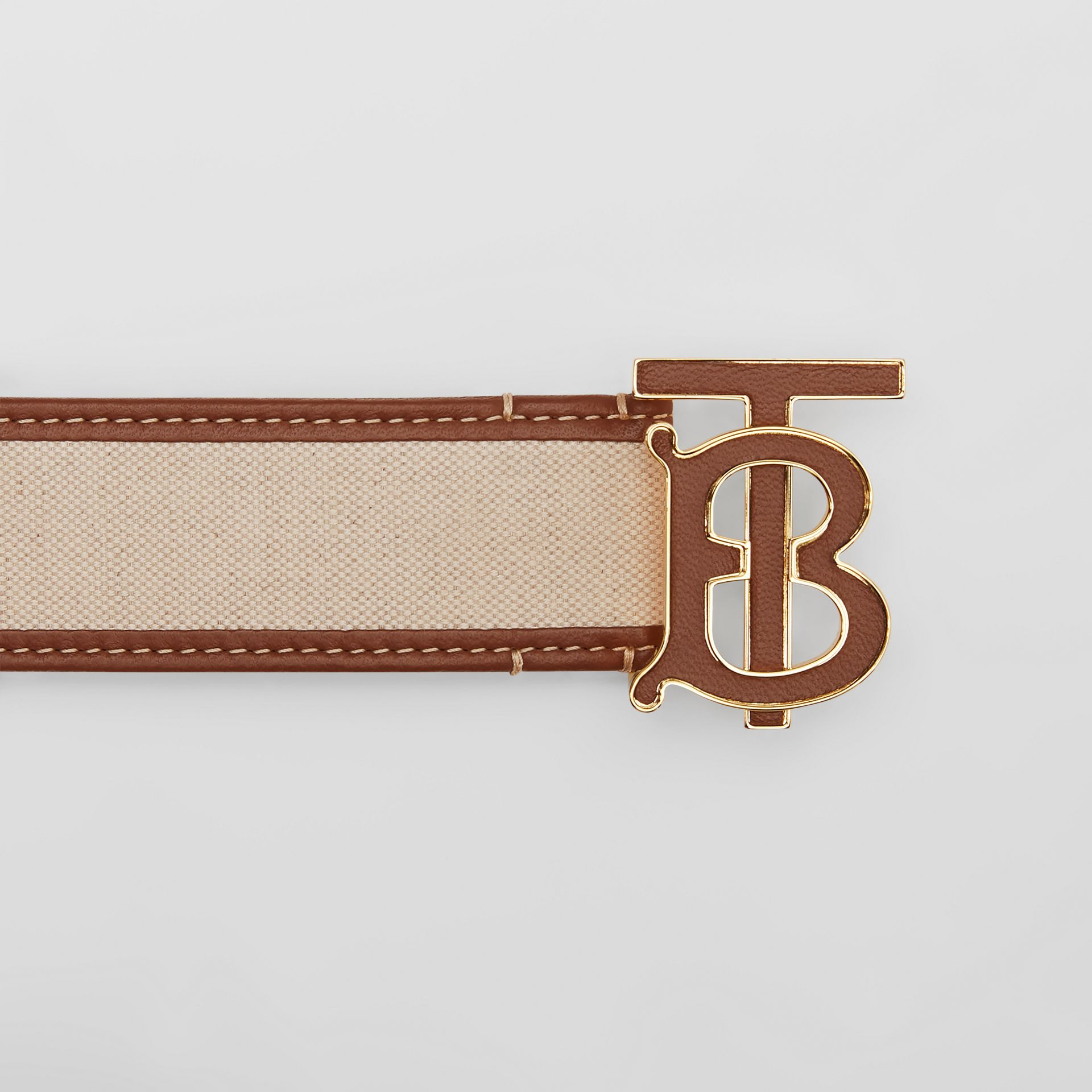Monogram Motif Canvas and Leather Belt in Natural - Women | Burberry United Kingdom - gallery image 1