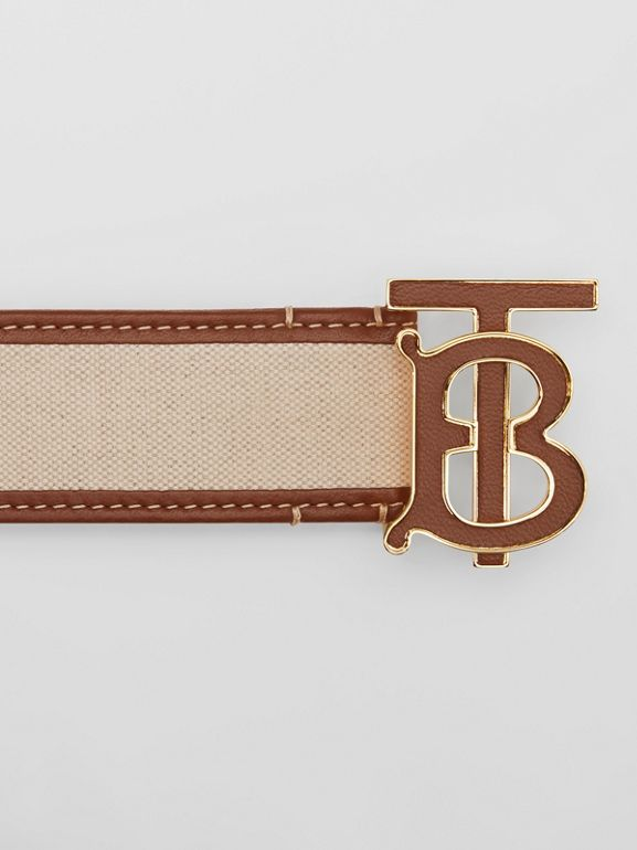 Monogram Motif Canvas and Leather Belt in Natural - Women | Burberry United Kingdom - cell image 1