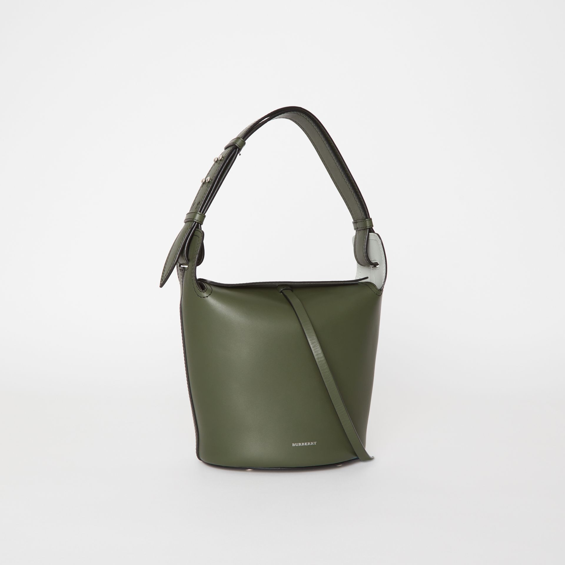 The Small Leather Bucket Bag in Dark Olive - Women | Burberry - gallery image 6